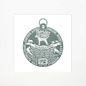 """Dog Tag"" print for Border Terrier lovers"