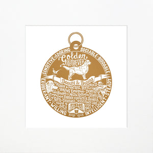 """Dog Tag"" print for Golden Retriever lovers"