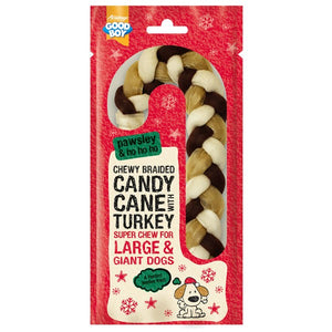 Goodboy Chewy Braided Candy Cane - Turkey - large!