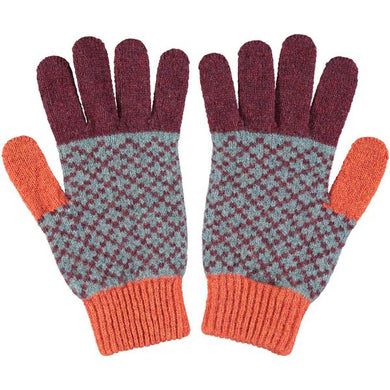 Men's Cross Aubergine & Rust Lambswool Gloves