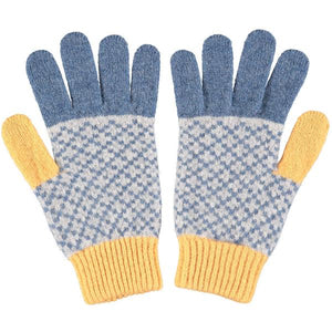 Men's Cross Denim & Gold Lambswool Gloves