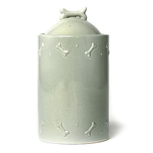 Sage Green Ceramic Dog Biscuit Jar