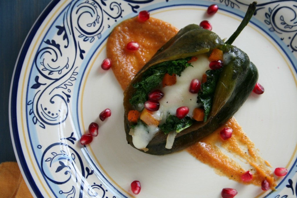 Kale and Butternut Squash Stuffed Poblano Peppers with Cut 'N Clean Greens