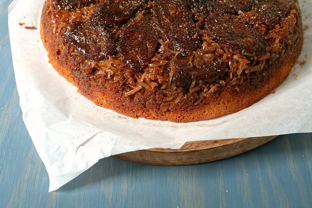 UPSIDE DOWN PLANTAIN CAKE WITH TOASTED COCONUT