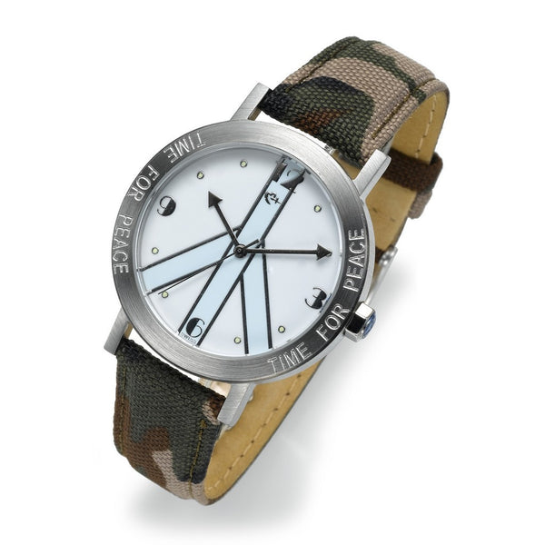 Light Blue Peace Sign And Camouflage Strap