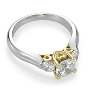 0.75ct White Gold Three Stone Ring with Yellow Gold Hope and Love Symbols