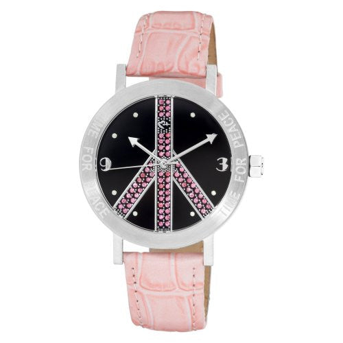 Pink & Black watch with Crystals