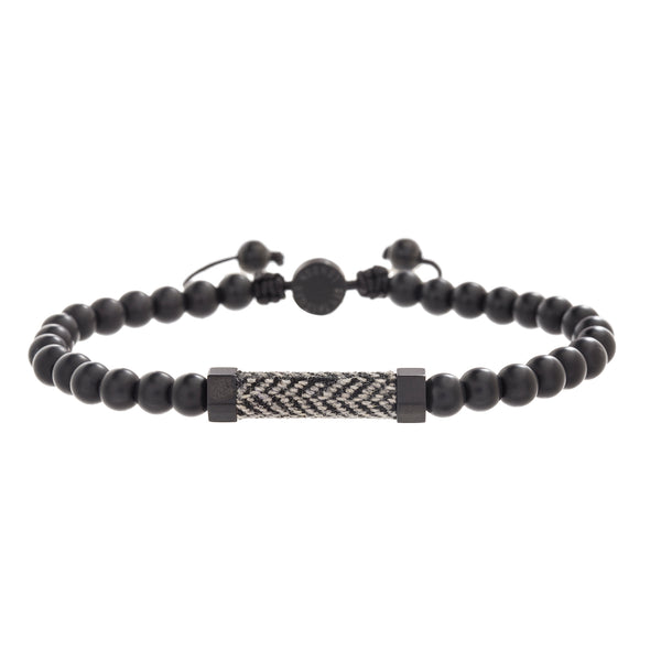 Stainless Steel Beaded Men's Adjustable Bracelet