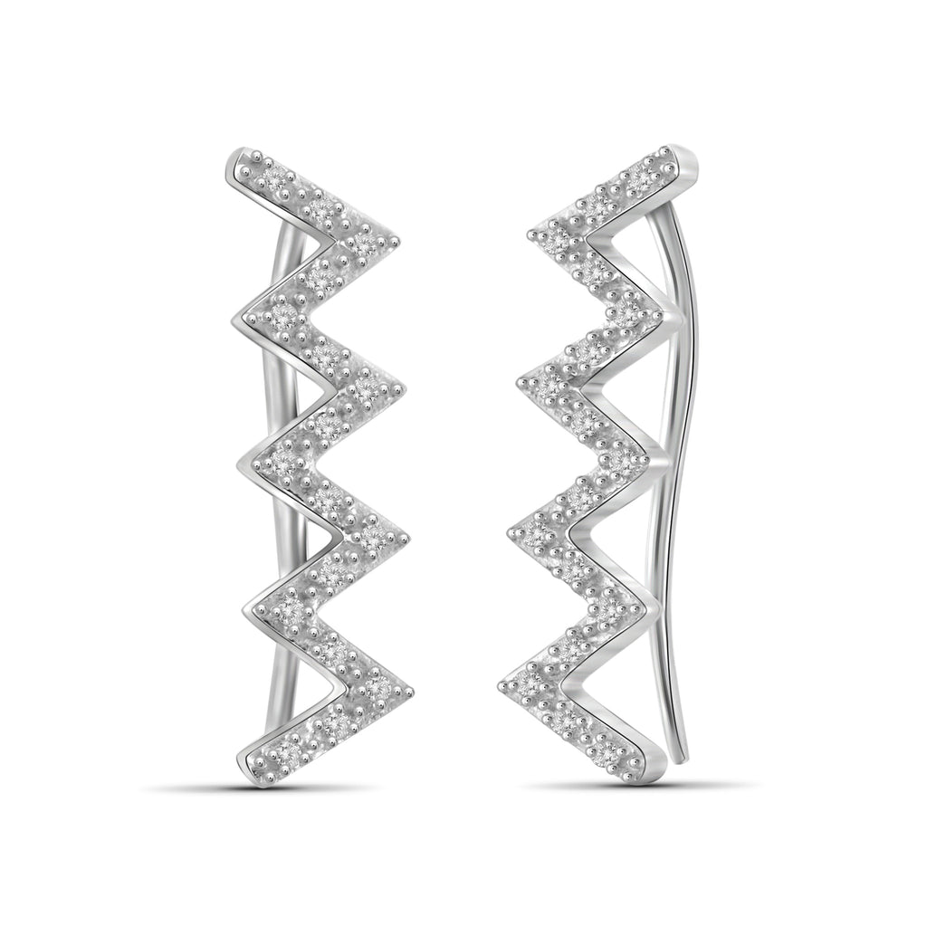 1/10 Carat T.W. Genuine White Diamond Zigzag Earring in 14K White Gold
