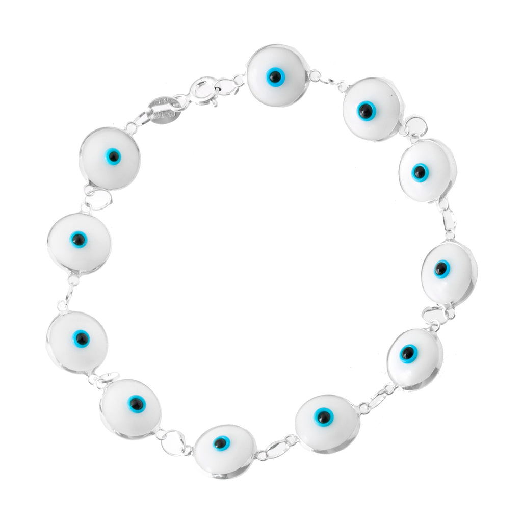 Sterling Silver White Evil Eye Bracelet