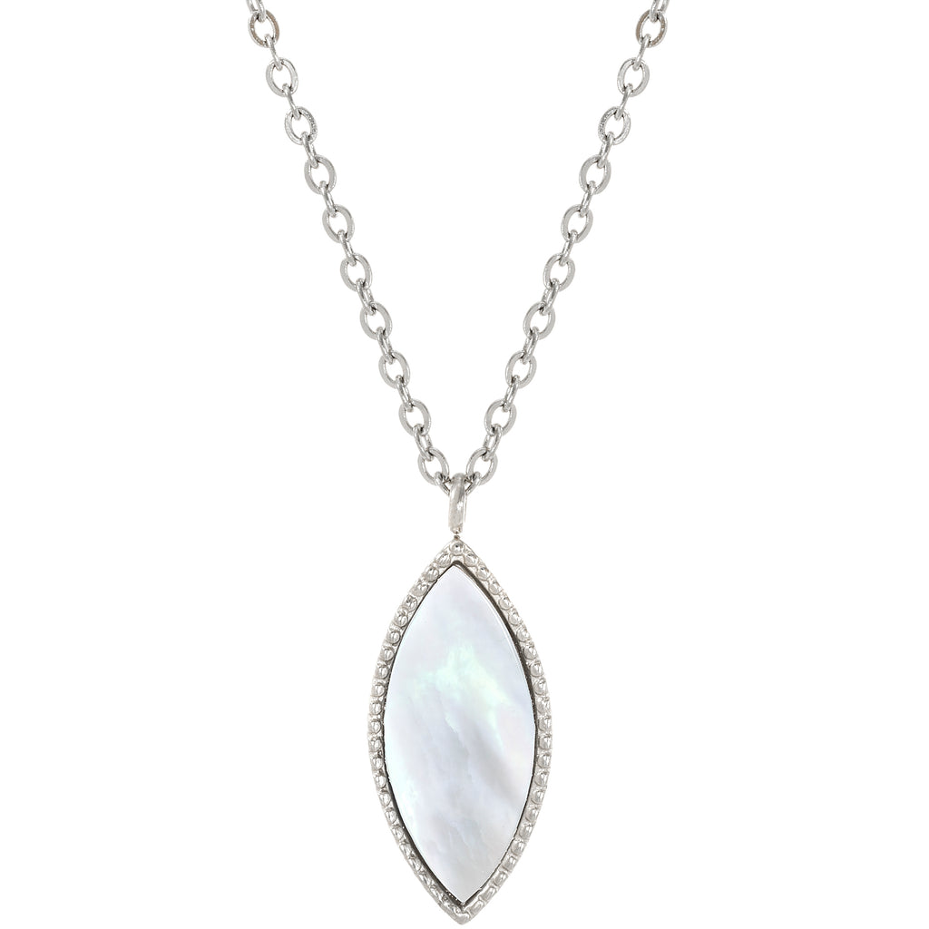 Stainless Steel Mother Of Pearl Marquise Necklace