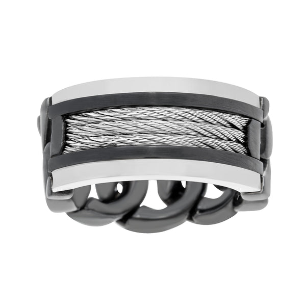 Stainless Steel Curb Chain Design Men's Ring