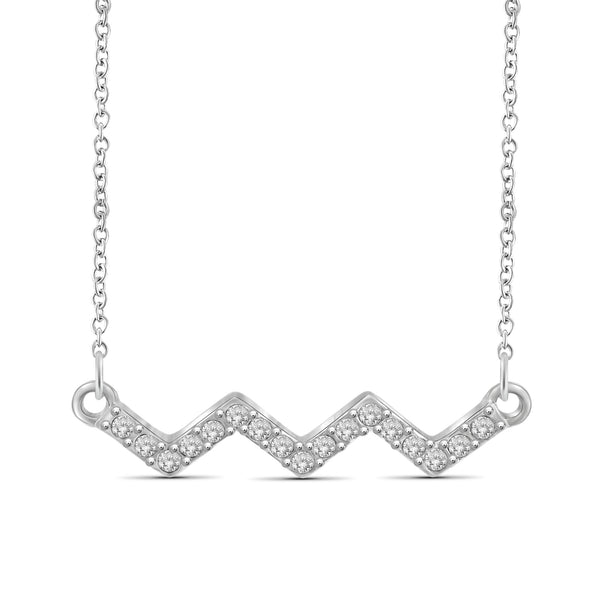1/10 Carat T.W. Genuine White Diamond Zigzag Necklace in 14K White Gold
