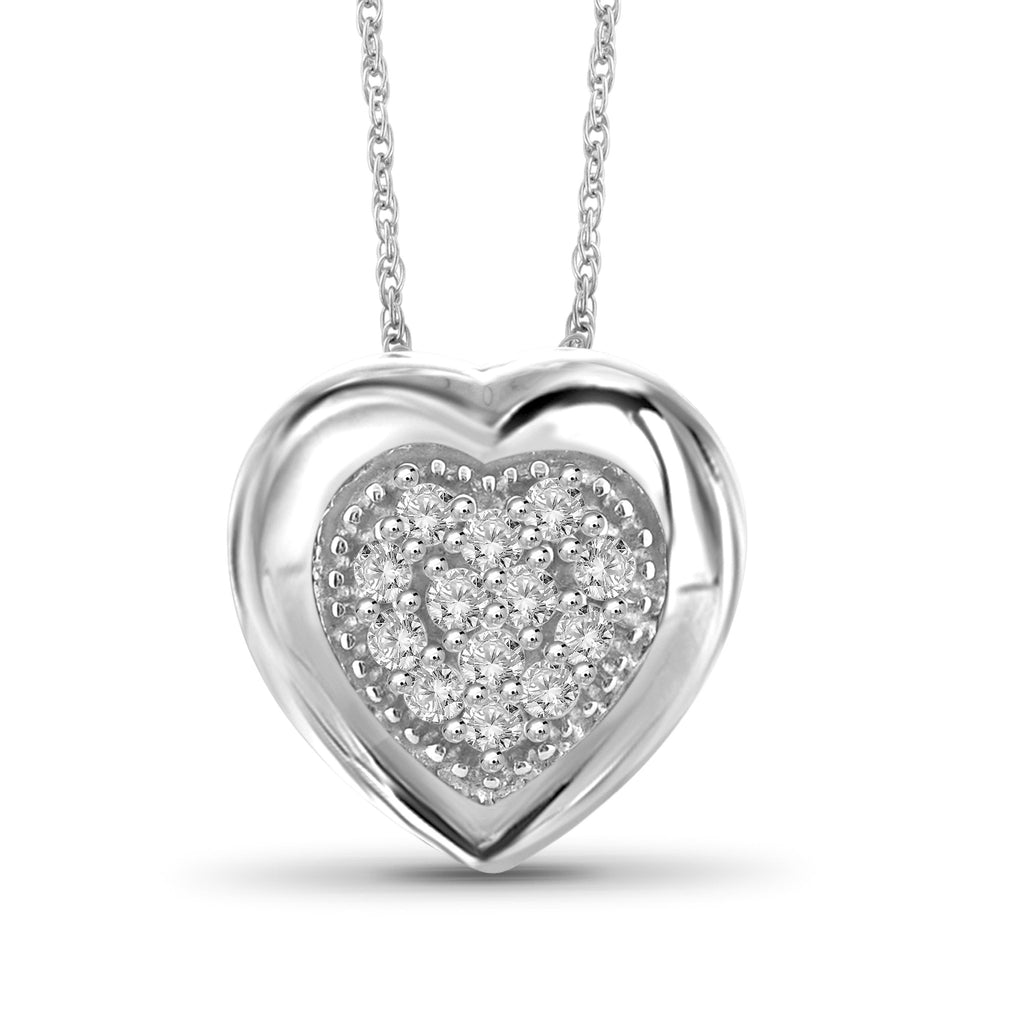 1/7 Carat T.W. Genuine White Diamond Heart Pendant in 14K White Gold