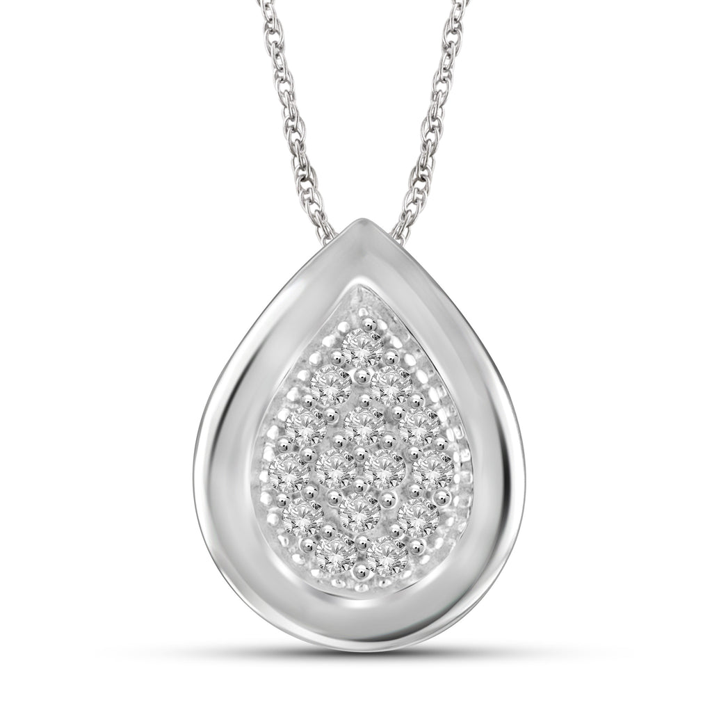 1/7 Carat T.W. Genuine White Diamond Drop Pendant in 14K White Gold