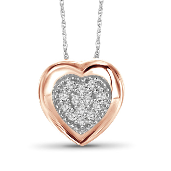 1/7 Carat T.W. Genuine White Diamond Heart Pendant in 14K Rose Gold