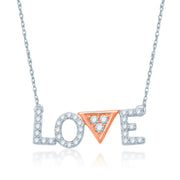 "1/4 CT. T.W. Diamond ""LOVE"" Necklace in 10K Two-Tone Gold - 17"""