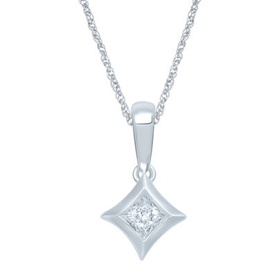 STARRA™ 1/10 CT. DIAMOND SOLITAIRE 14K GOLD PENDANT.