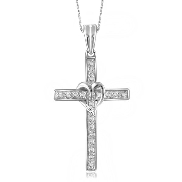 Accent Genuine White Diamond Cross Pendant in 14K White Gold