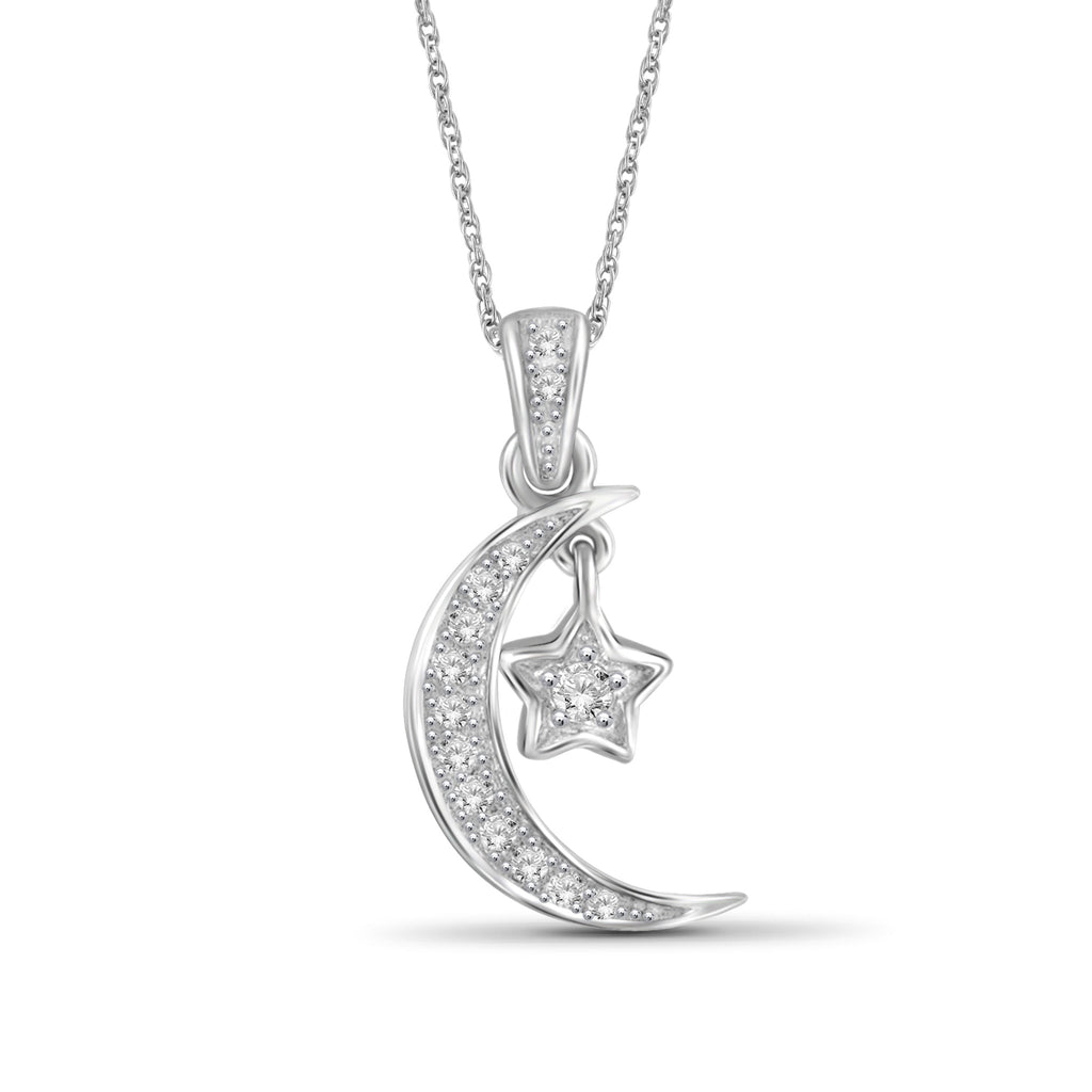 1/10 Carat T.W. Genuine White Diamond Moonstar Pendant in 14K White Gold