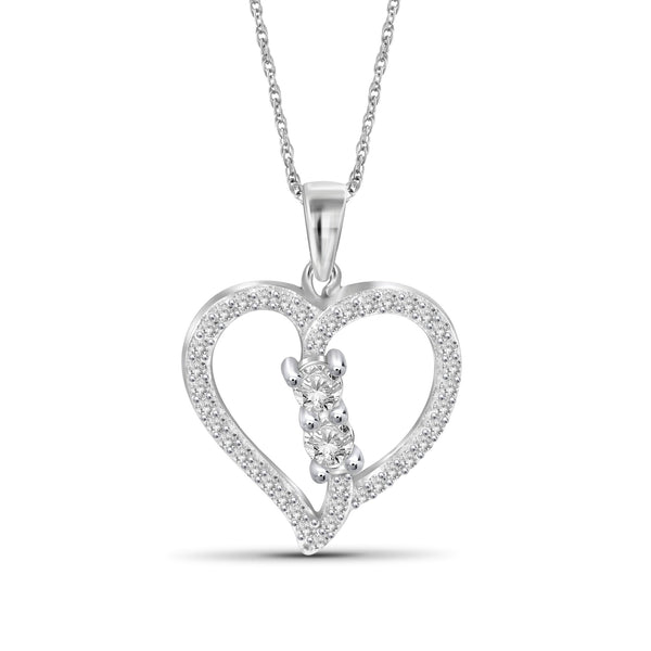 1/2 Carat T.W. Genuine White Diamond Heart Pendant in 14K White Gold