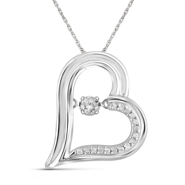 1/4 Carat T.W. Genuine White Diamond Heart Pendant in 14K White Gold