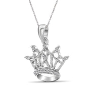 1/10 Carat T.W. Genuine White Diamond Crown Pendant in 14K White Gold
