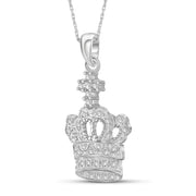 1/7 Carat T.W. Genuine White Diamond Crown Pendant in 14K White Gold