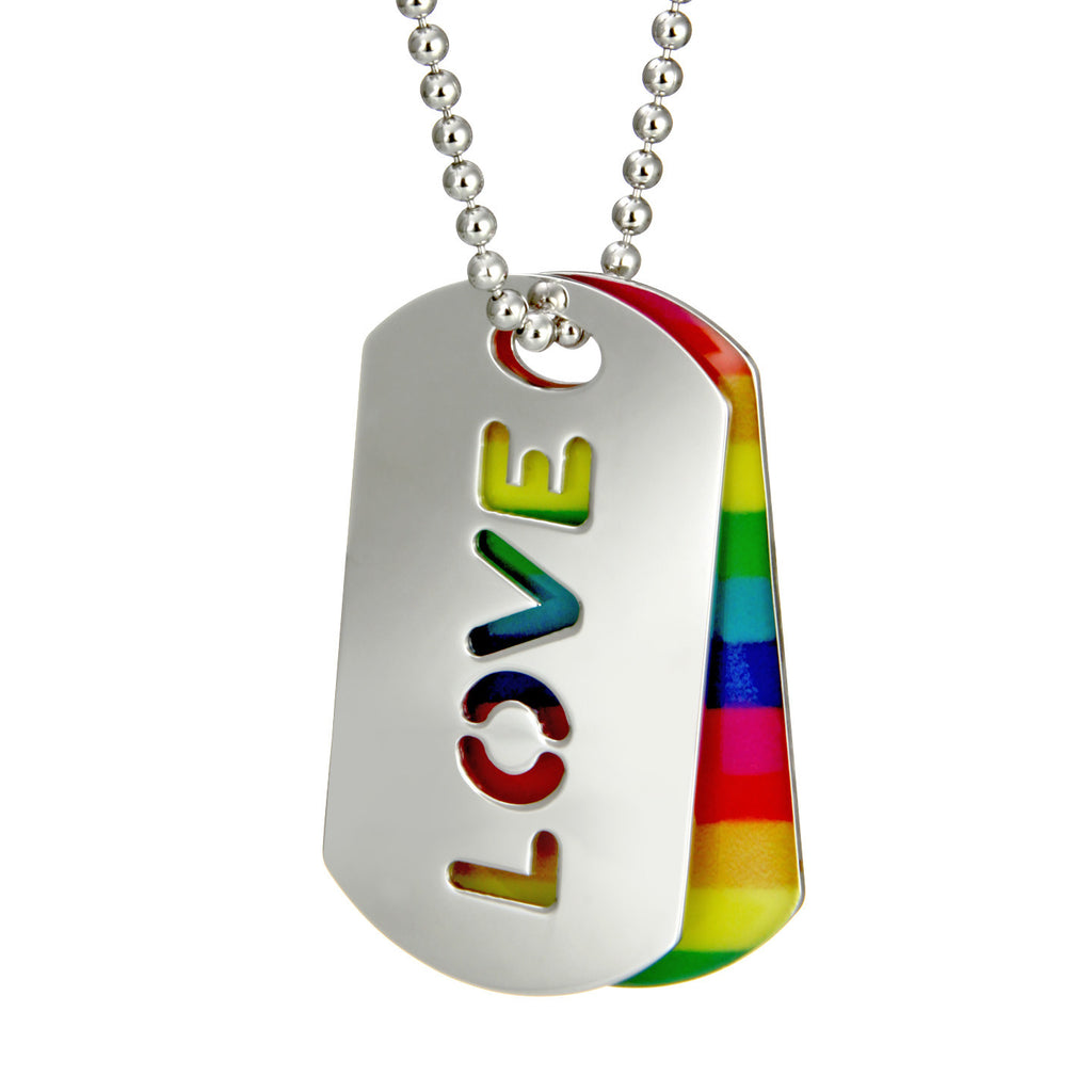 Silver and Rainbow Enamel LOVE Tags