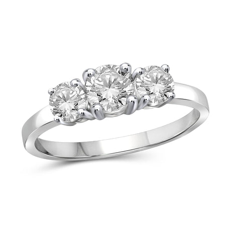 1.00 Carat T.W. Genuine White Diamond 14K White Gold 3-stone Ring