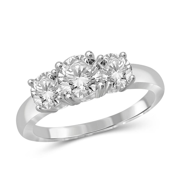 1.75 Carat T.W. Genuine White Diamond 14K White Gold 3-stone Ring