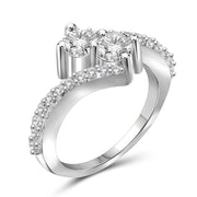 1.25 Carat T.W. Genuine White Diamond 14K White Gold 2-stone Ring