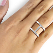 1/5 Carat T.W. Genuine White Diamond Open Ring in 14K White Gold