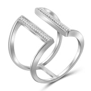 1/10 Carat T.W. Genuine White Diamond Open Ring in 14K White Gold