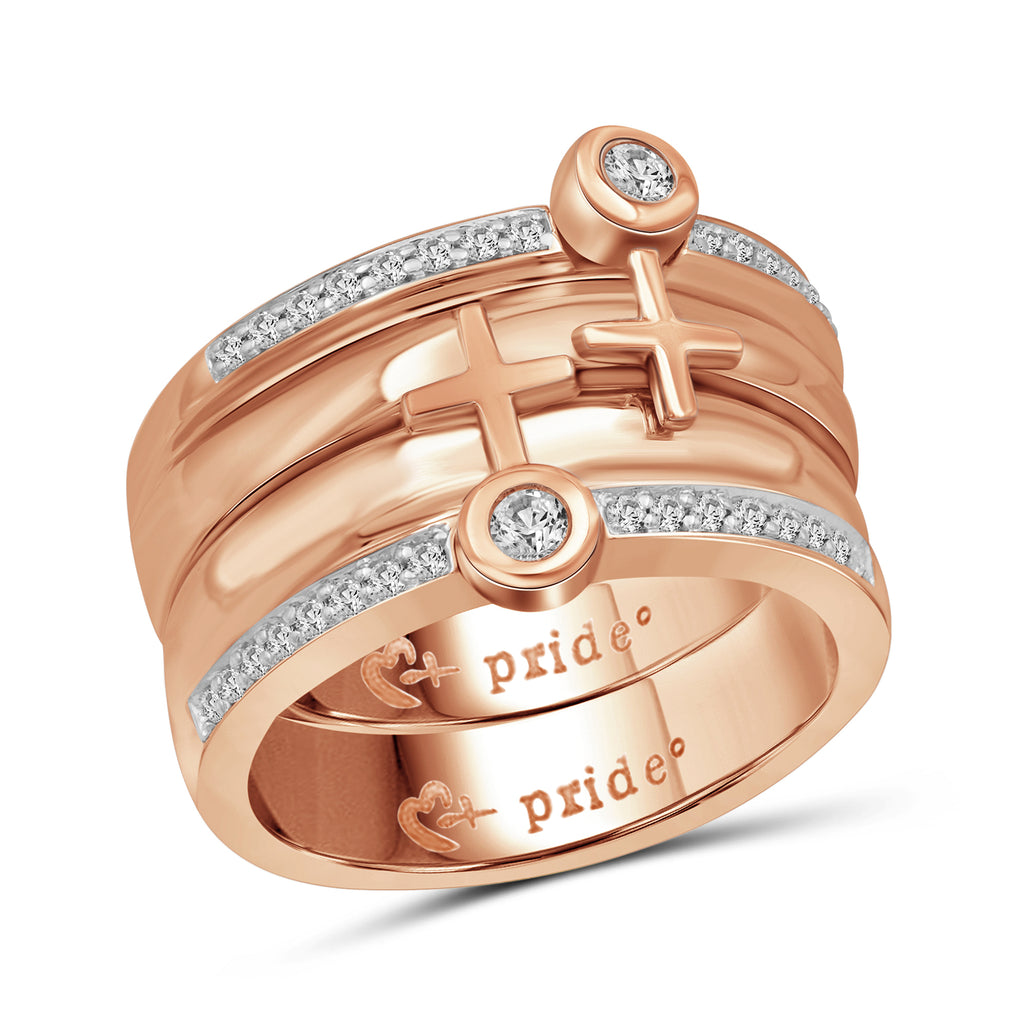 1/2 CTW 14K Rose Gold Male Insignia Combination Ring