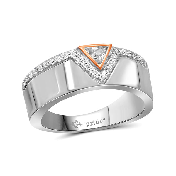 1/2 CT. T.W. Trillion-Cut Diamond Anniversary Band in 14K Two-Tone Rose Gold