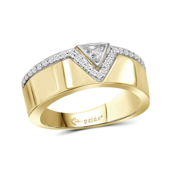 1/2 CT. T.W. Trillion-Cut Diamond Anniversary Band in 14K Yellow Two-Tone Gold