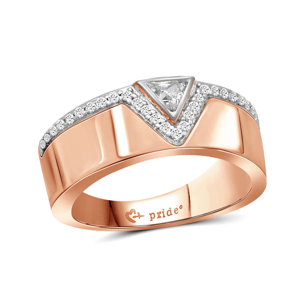 1/2 CT. T.W. Trillion-Cut Diamond Anniversary Band in 14K Rose Two-Tone Gold