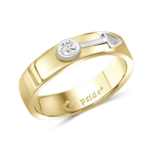 1/5 CTW 14K Yellow Two-tone Gold Male Insignia Ring