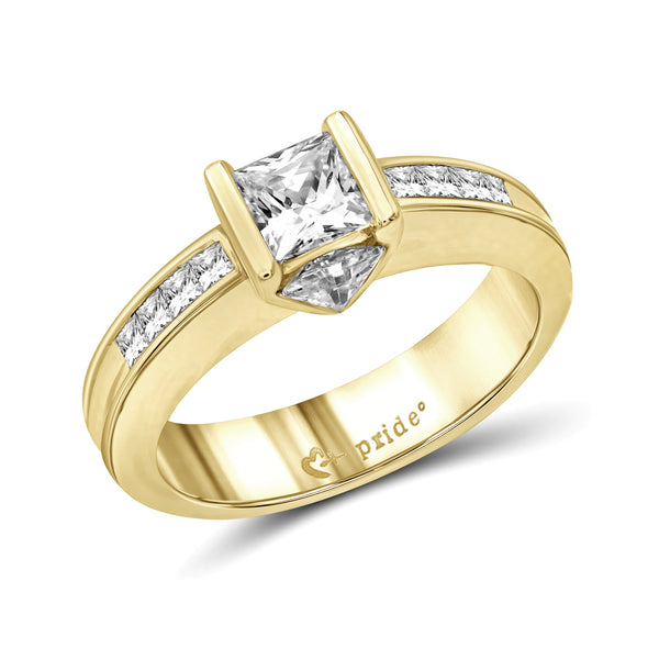 14 Karat Yellow Gold Princess and Trillion Engagement Ring