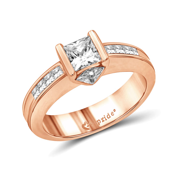 14 Karat Rose Gold Princess and Trillion Engagement Ring