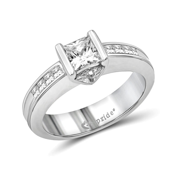 14 Karat White Gold Princess and Trillion Engagement Ring