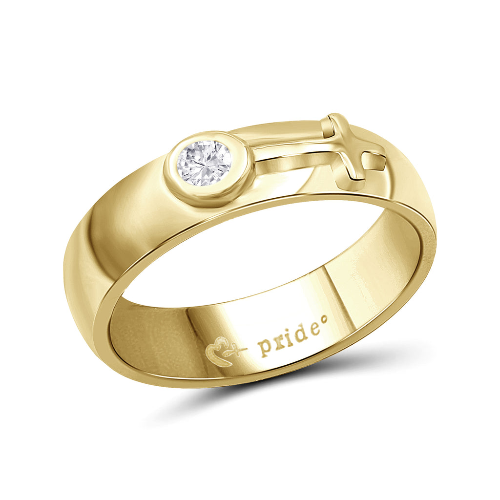 1/5 CTW 14K Yellow Gold Ring with Female Insignia