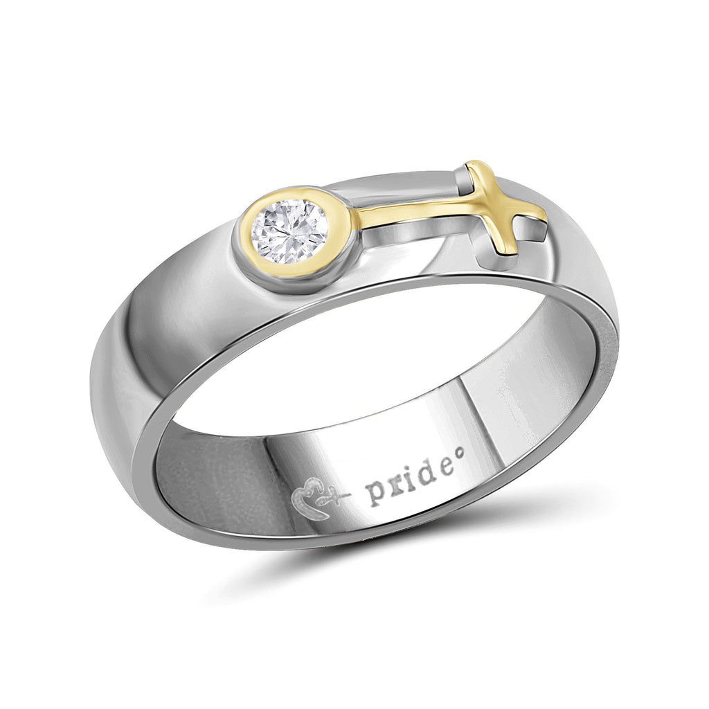 1/5 CTW 14K Two Tone Yellow Gold Ring with Female Insignia