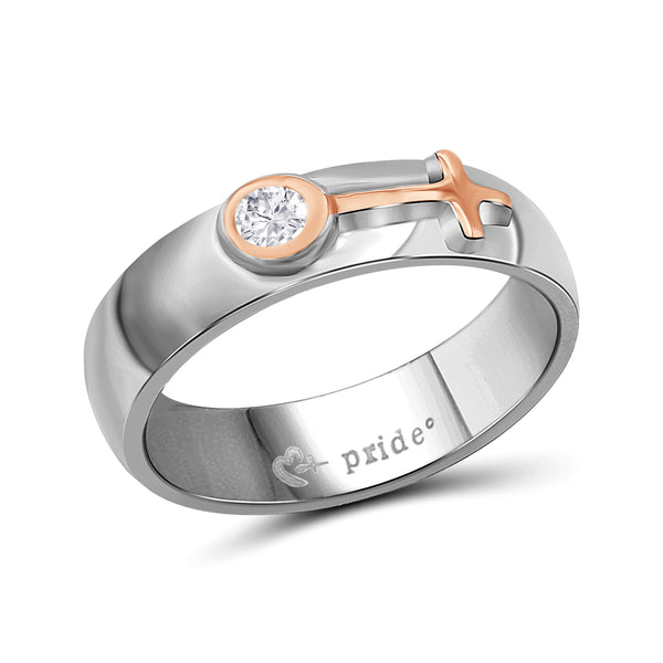 1/5 CTW 14K Two Tone Rose Gold Ring with Female Insignia