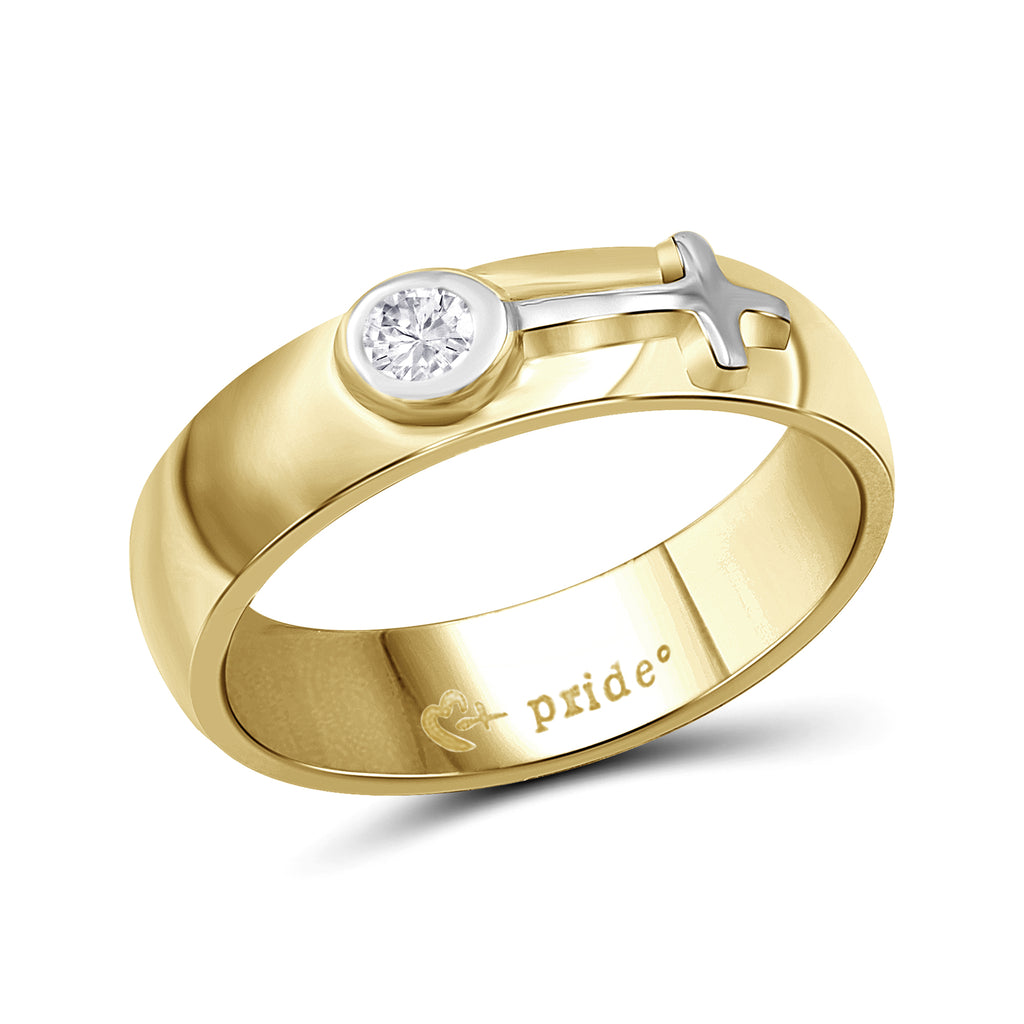 1/5 CTW 14K Yellow Two Tone Gold Ring with Female Insignia