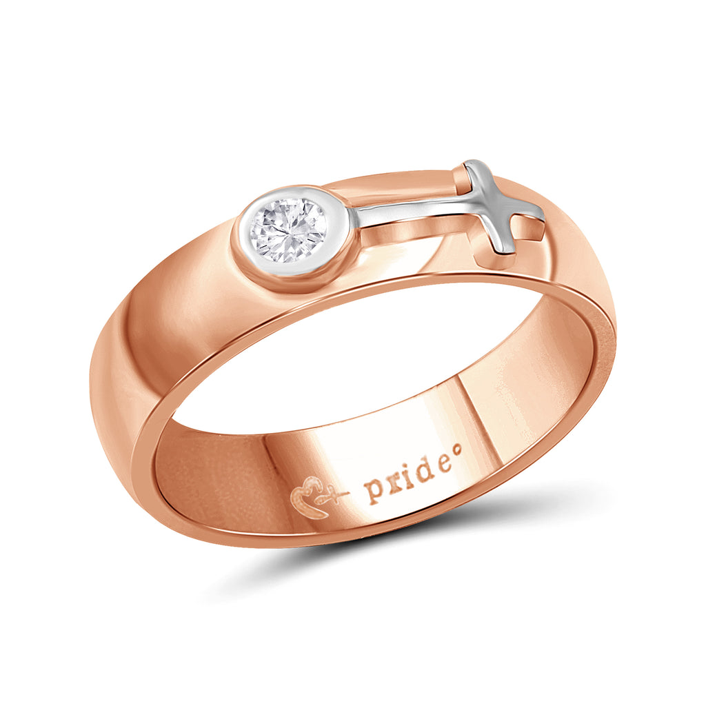 1/5 CTW 14K Rose Two Tone Gold Ring with Female Insignia