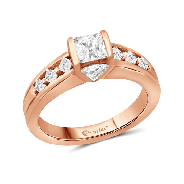 1.00 CTW 14Karat Rose Gold Princess and Trillion Engagement Ring
