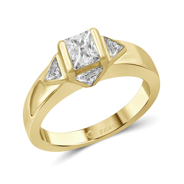 1.00 CTW 14Karat Yellow Gold Princess and Trillion Engagement Ring