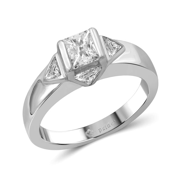 1.00 CTW 14Karat White Gold Princess and Trillion Engagement Ring